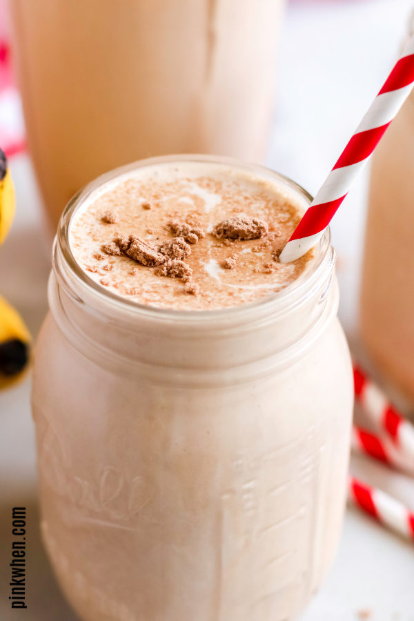 Peanut butter banana smoothie in a mason jar.