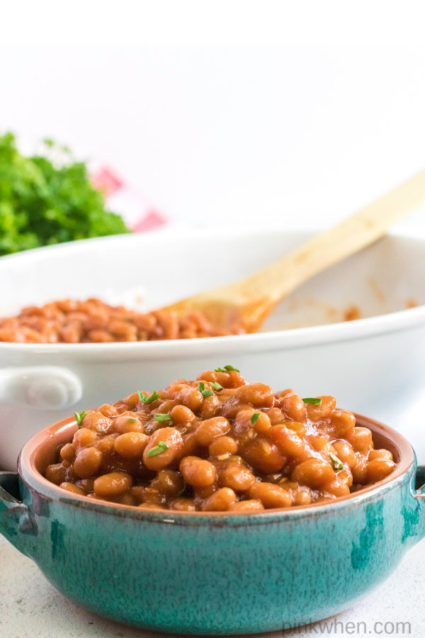 Baked  beans scooped in a bowl and ready to serve.