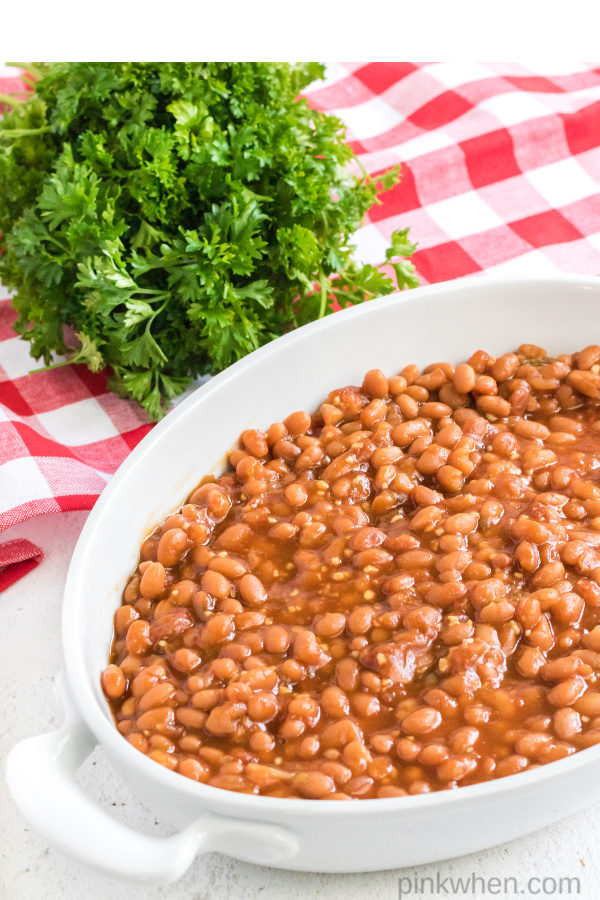 baked beans in a casserole dish ready to serve.