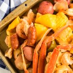 Cajun Seafood Boil on a tray and ready to eat.