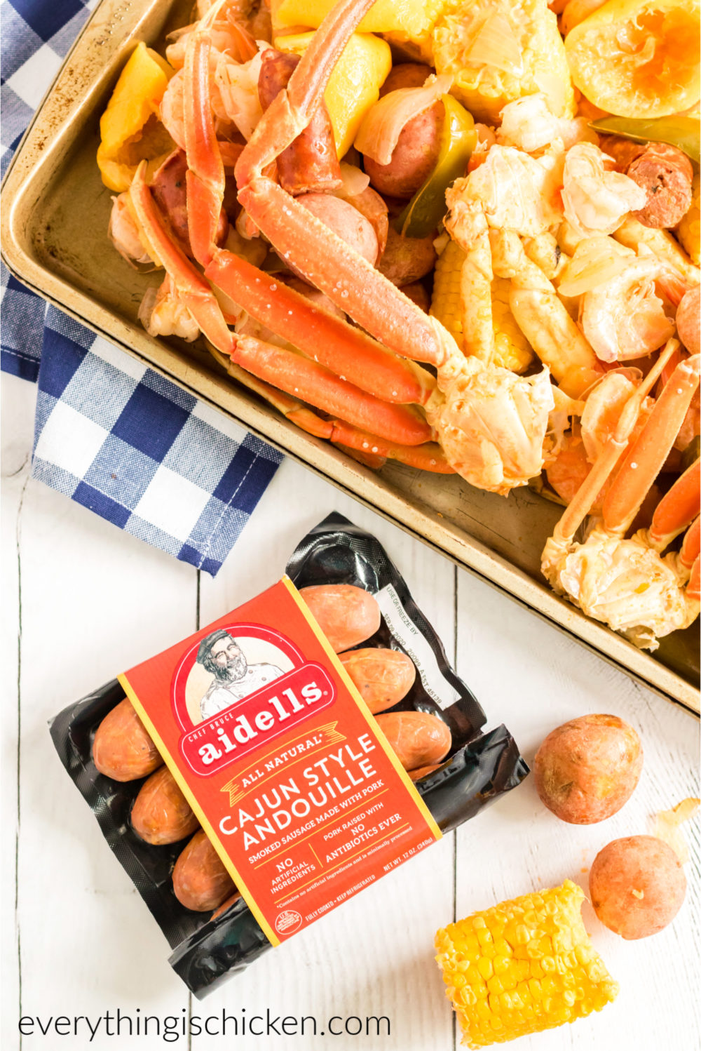 Sausage in a package that was used in the cajun seafood boil.