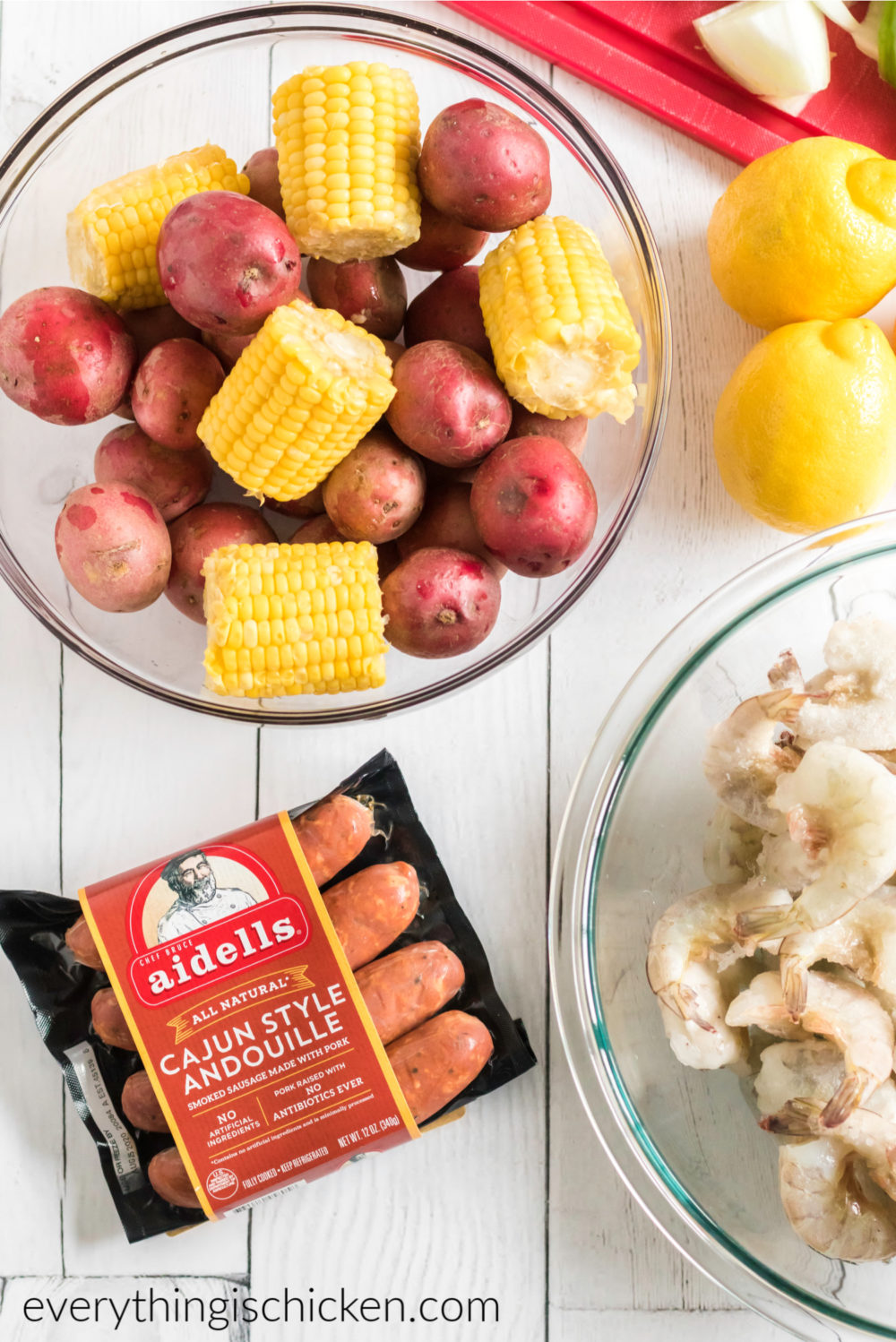Ingredients needed for a cajun seafood boil.