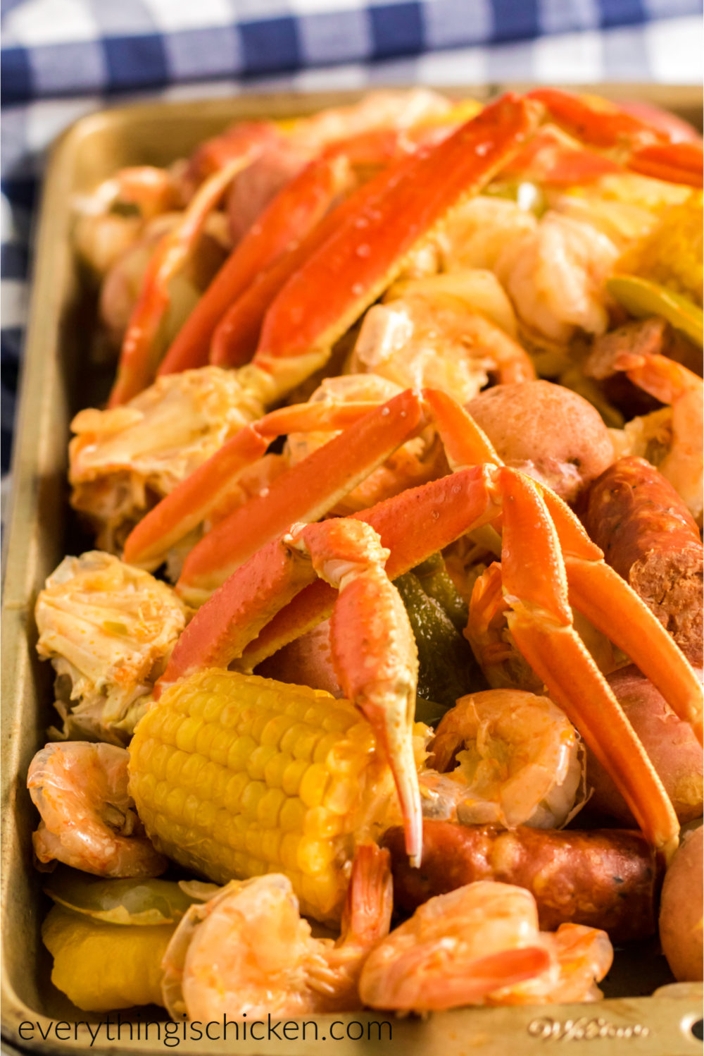 Corn and shrimp, crab, and Aidell's sausage ready to serve.