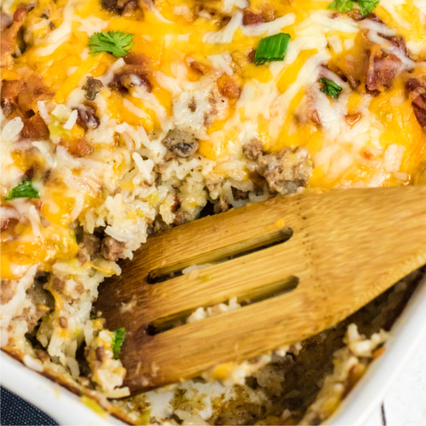 Cheeseburger casserole scooped to serve.