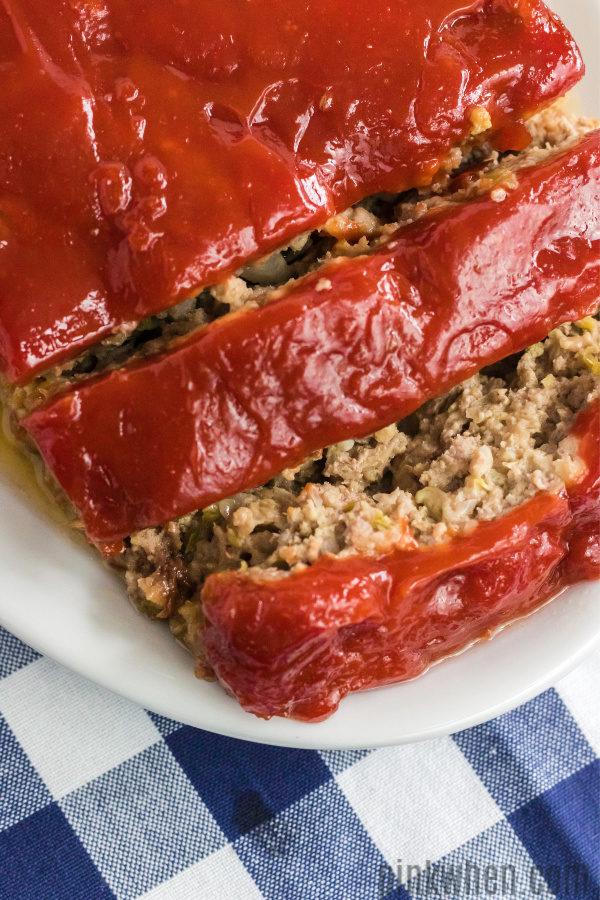 Sliced meatloaf ready to serve.