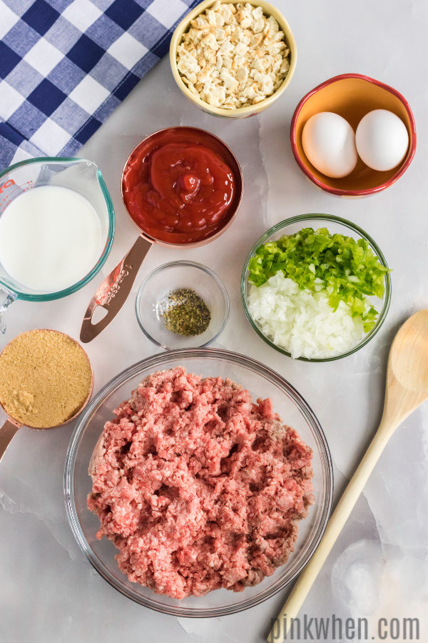 Ingredients to make a homemade meatloaf recipe.