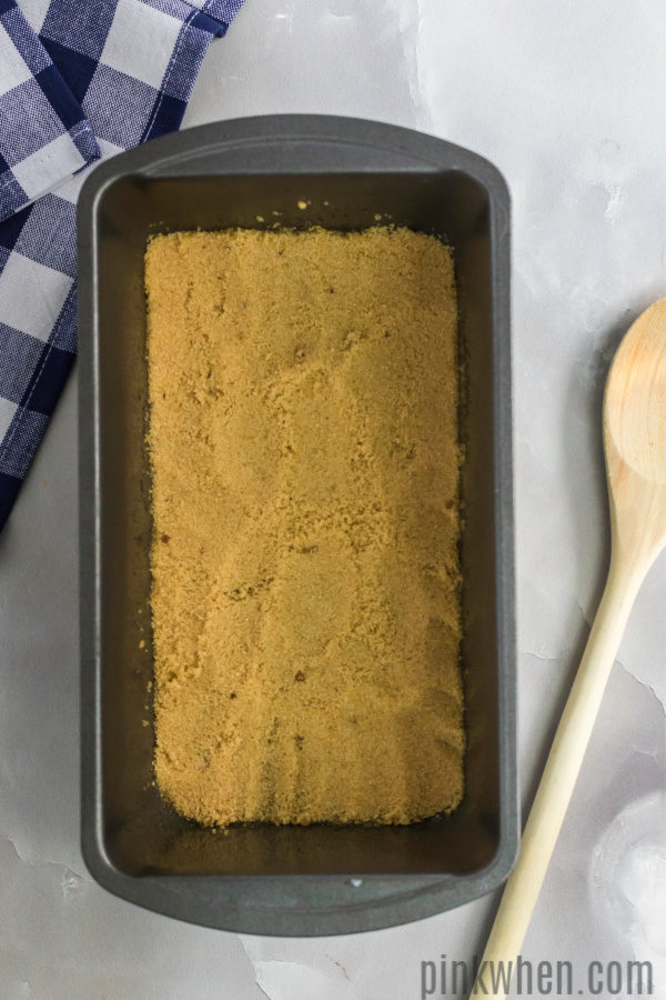 Brown sugar pressed into the bottom of a meatloaf pan.