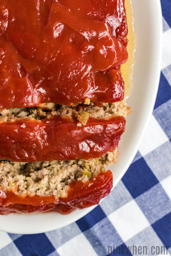 Thick and hearty sliced meatloaf.