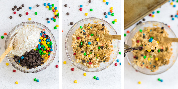 Steps to make monster cookie dough.