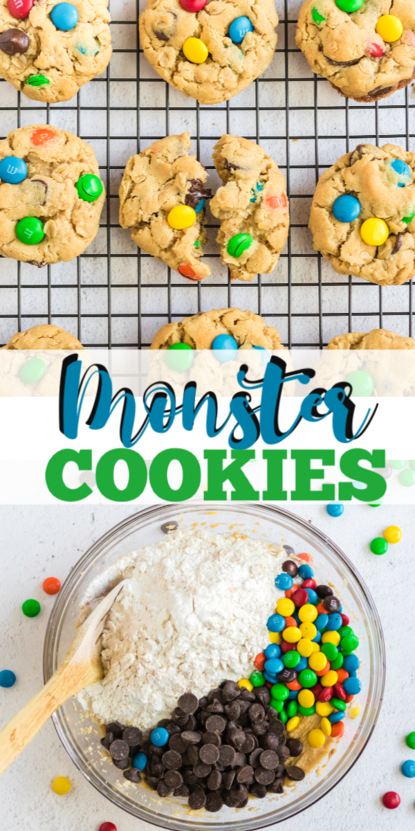 Monster cookies are made with all of my favorite ingredients! Oats, peanut butter, chocolate chips, M&M's, brown sugar, and more. This chewy, delicious monster cookie recipe is one that gets gobbled up so fast you should consider doubling the recipe.
