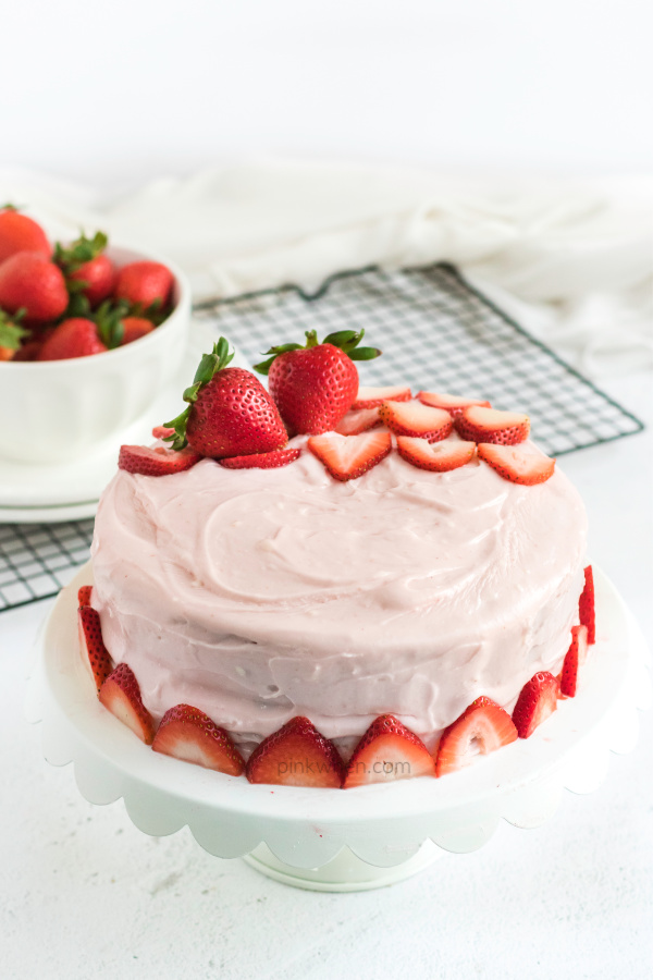 Strawberry Cake with cream cheese frosting and fresh strawberries