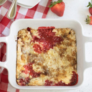 Strawberry Cobbler in a square dish