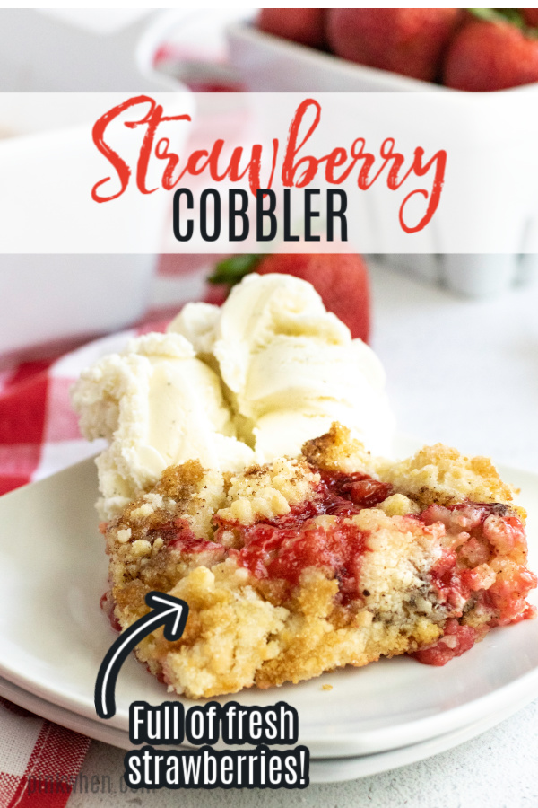 This Strawberry Cobbler is made with fresh strawberries, lemon juice, flour, sugar, and a whole lot of deliciousness! You're going to love how quick and easy it is to make this delicious summertime dessert. Grab a lot of strawberries, because you'll get a lot of requests for more!