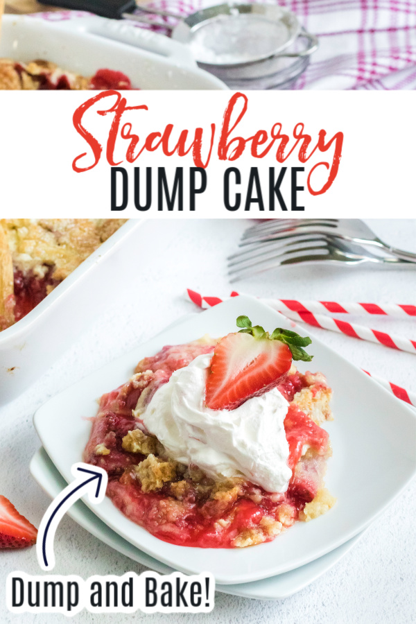 This delicious strawberry dump cake is made with strawberry filling, fresh strawberries, powdered sugar, vanilla cake mix, and butter. It's one of my favorite easy desserts that is as easy as dumping the ingredients and baking. If you love fresh strawberries packed with tons of sweet flavors you're going to love this easy strawberry dessert.