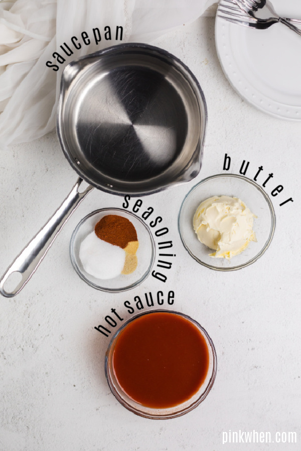 Seasoning and ingredients needed for air fryer hot sauce.