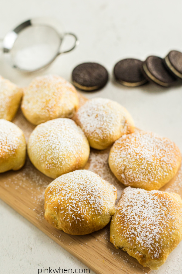Air Fried OREOs with powdered sugar sprinkled on top.
