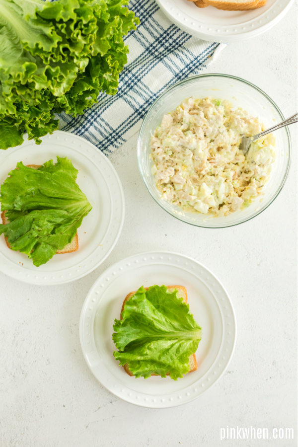 Lettuce on bread and chicken salad in a bowl