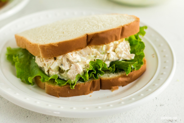 Chicken salad sandwich on a white plate ready to eat.