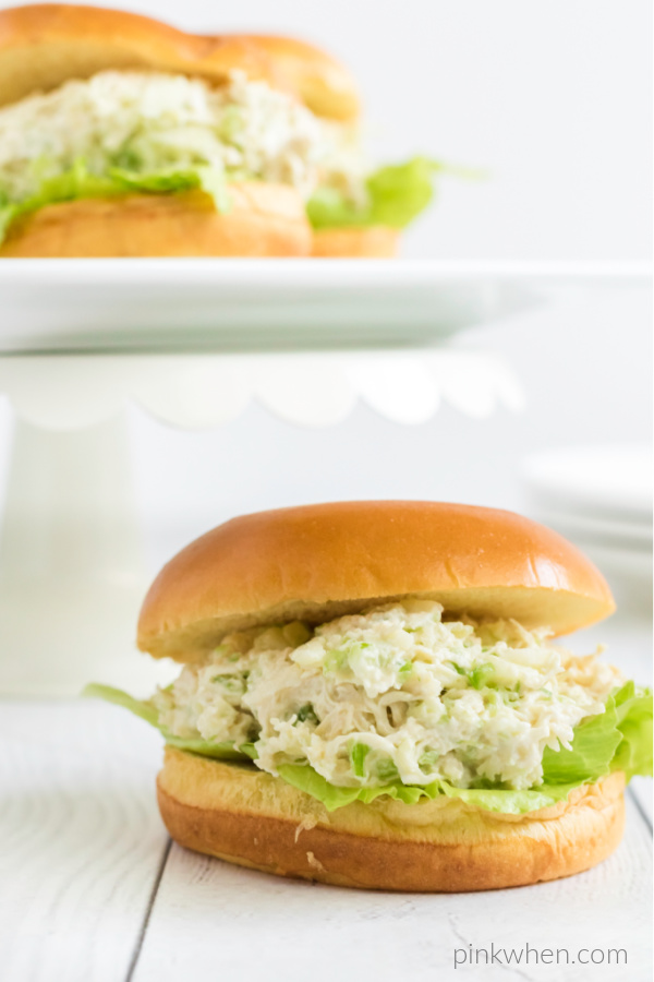 Chicken salad on a bun.