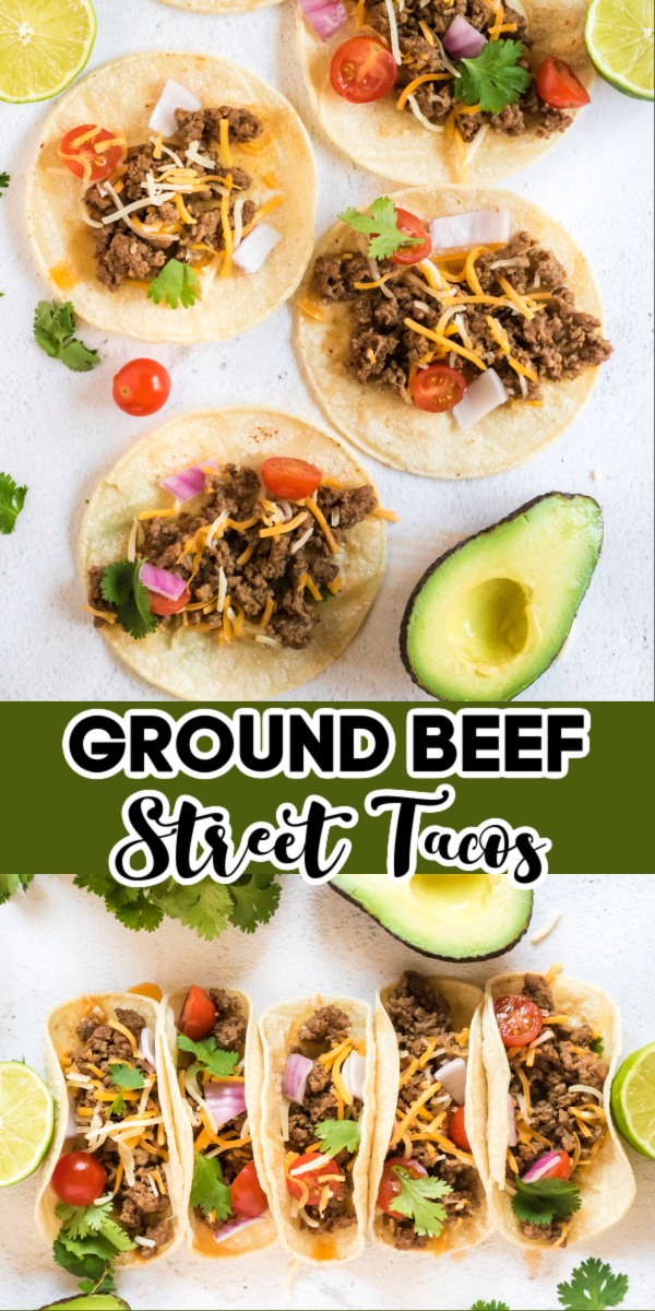 These delicious Street Tacos are made with ground beef, shredded cheese, cherry tomatoes, fresh cilantro, salsa, and more. It's a quick and easy recipe the whole family will love.