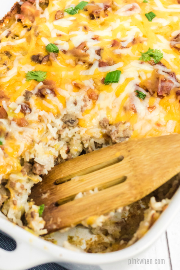 Hamburger Casserole scooped and ready to eat.