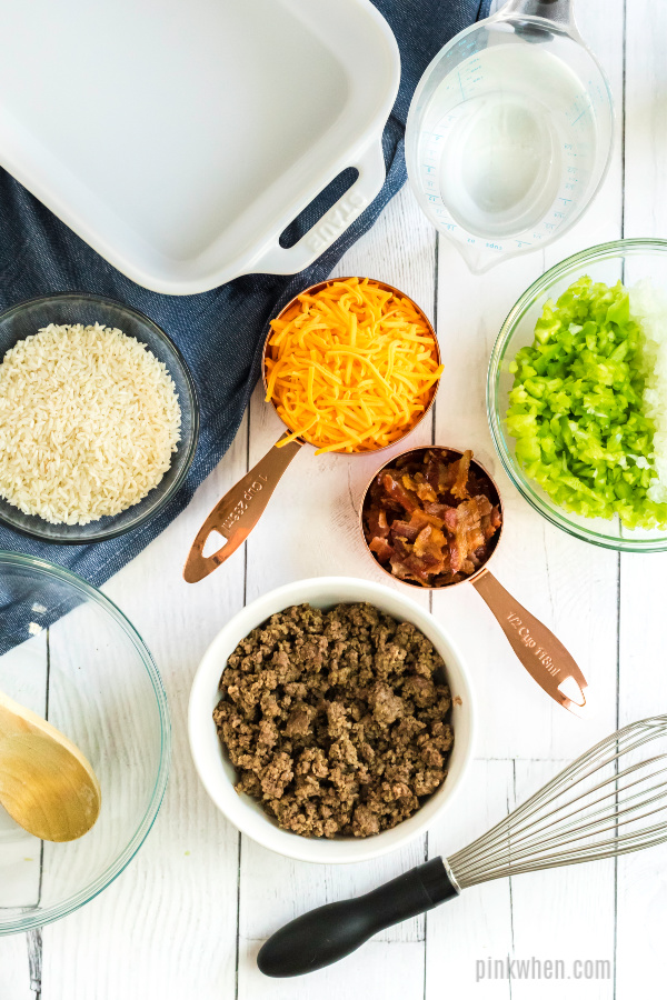 Ingredients needed for hamburger casserole.