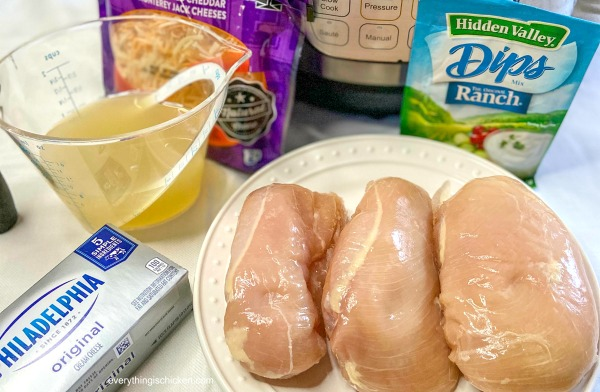 Ingredients needed for Instant Pot Crack Chicken