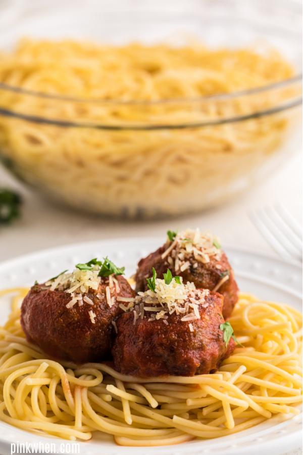 Italian Meatballs on spaghetti.