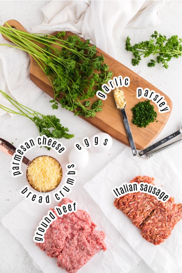Ingredients for homemade Italian meatballs