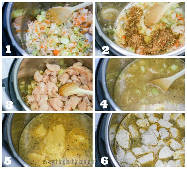 Collage of steps to make instant pot chicken and dumplings