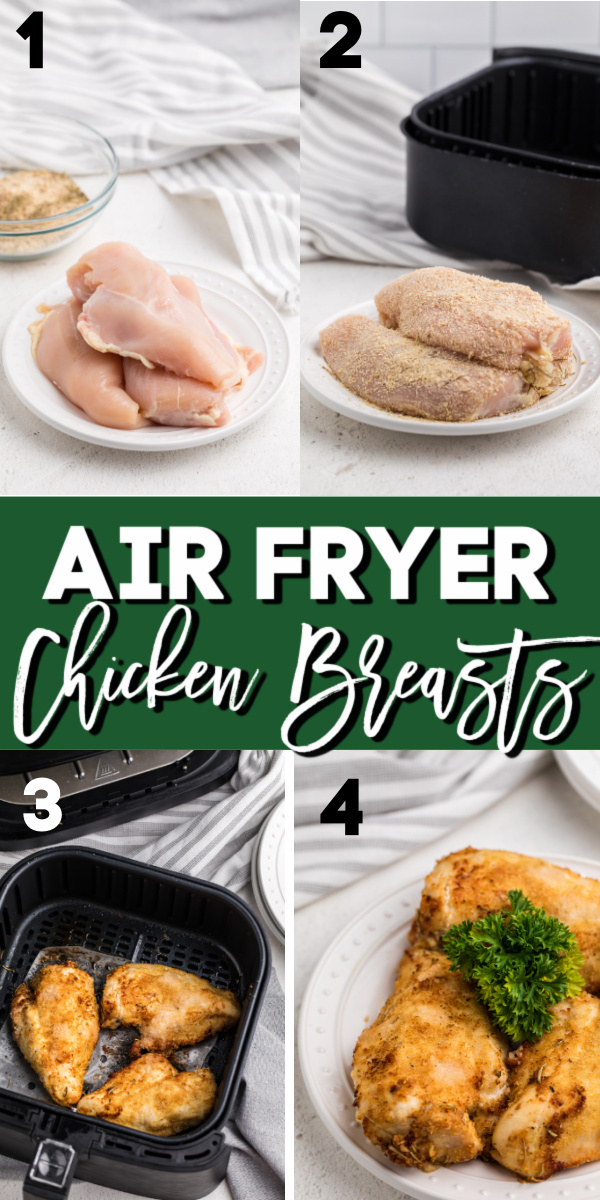 Tender, juicy, and perfectly crisp boneless skinless chicken breasts made in the Air Fryer and cooked to perfection.