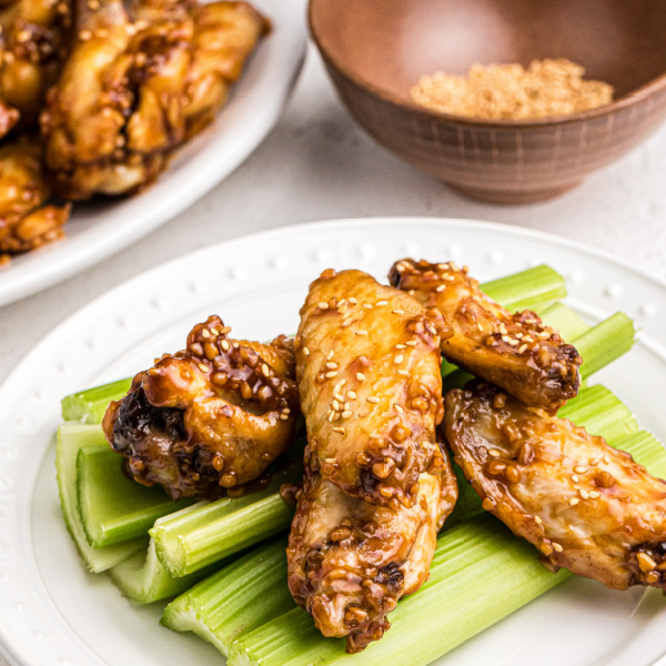 Honey Garlic Chicken Wings with sesame seeds.