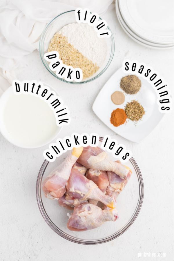 Ingredients needed for Air Fryer Copycat KFC Chicken.