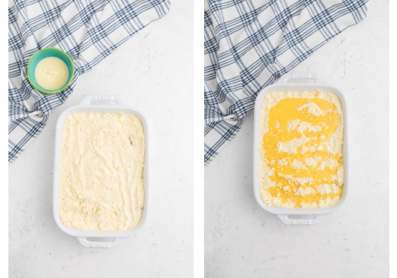 Process of adding cake mix and drizzling butter for dump cake.