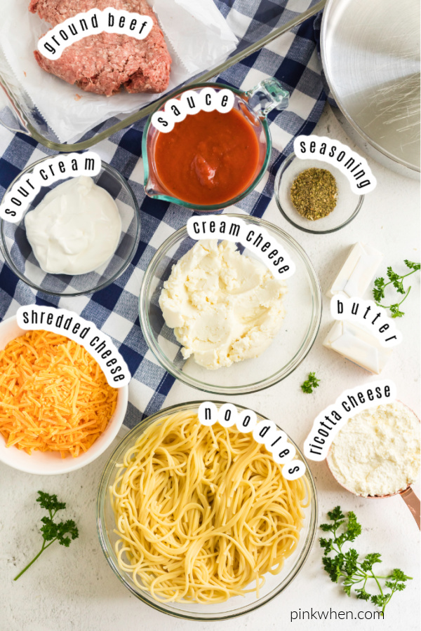Ingredients needed for baked spaghetti.