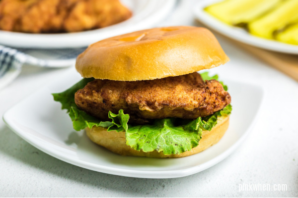 Chick Fil A Chicken Sandwich on a plate and ready to serve.