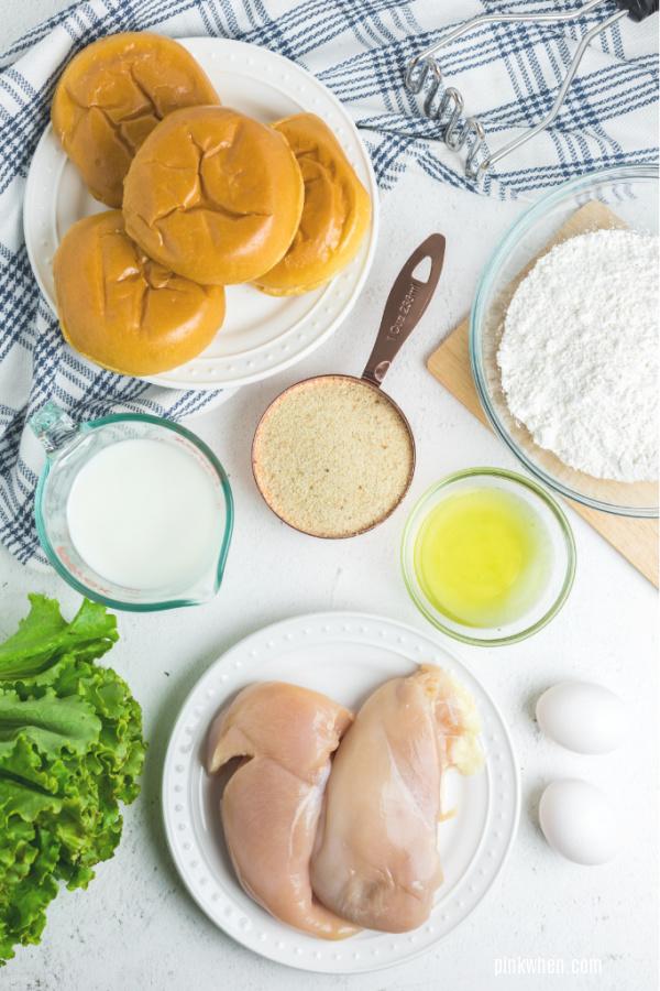 Ingredients needed for Chick Fil A Chicken Sandwich copycat recipe