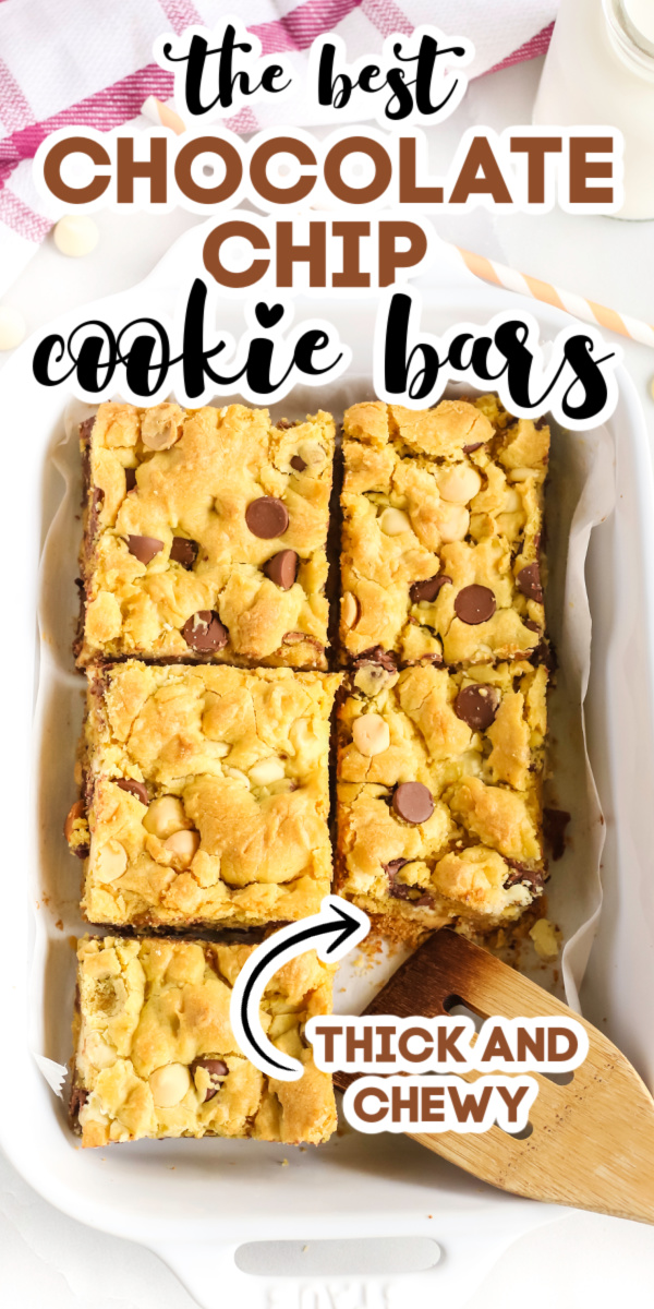 Chocolate Chip Cookie Bars are a delicious and easy dessert. Made with yellow cake mix, chocolate chips, and more! It's the perfect, easy dessert recipe your whole family will enjoy.
