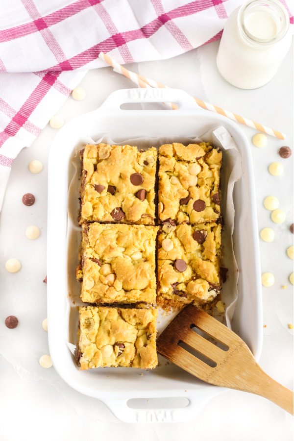 Chocolate Chip Cookie Bars sliced and ready to serve.
