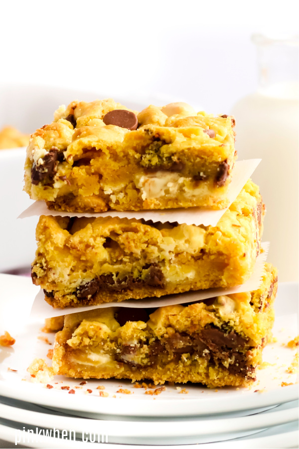 Chocolate Chip Cookie bars stacked and ready to eat.