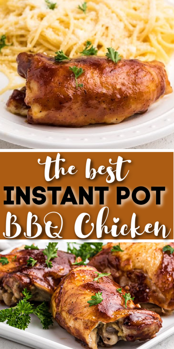 Instant Pot BBQ Chicken Thighs made in the pressure cooker are one of our favorite ways to make chicken! They are always moist, juicy, and tender, and the flavors are amazing. Made with bone-in, skin-on chicken thighs, BBQ sauce, and the perfect blend of seasonings to give this BBQ chicken a little extra kick your whole family will rave over.