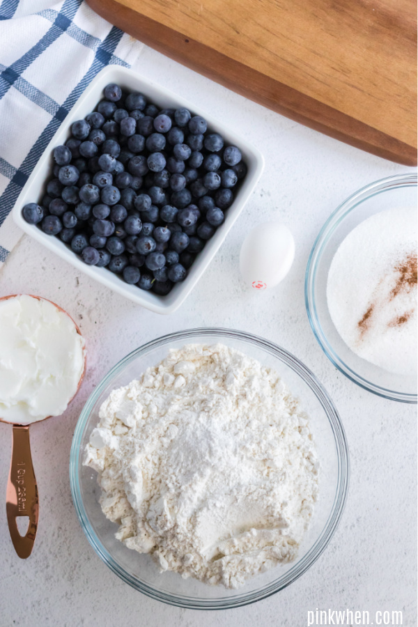 Ingredients needed for blueberry crumb bars.