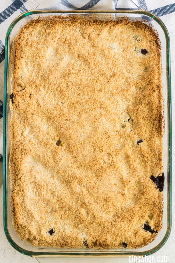 Blueberry Crumb Bars in a dish, un cut.