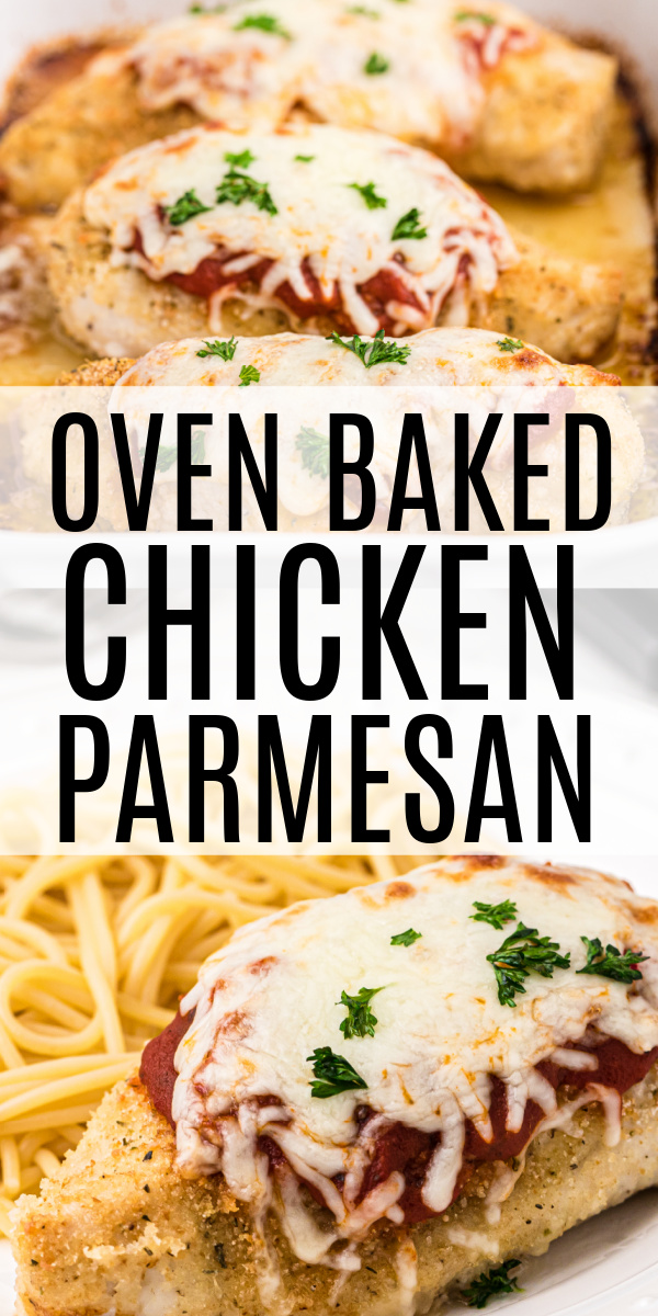 This oven baked chicken parmesan is made with less than 10 ingredients but is loaded with cheese and Italian flavors. Not only is this simple crispy baked parmesan chicken dish ready in 30 minutes, but it's a delicious homemade recipe to fuel the entire family with as well.