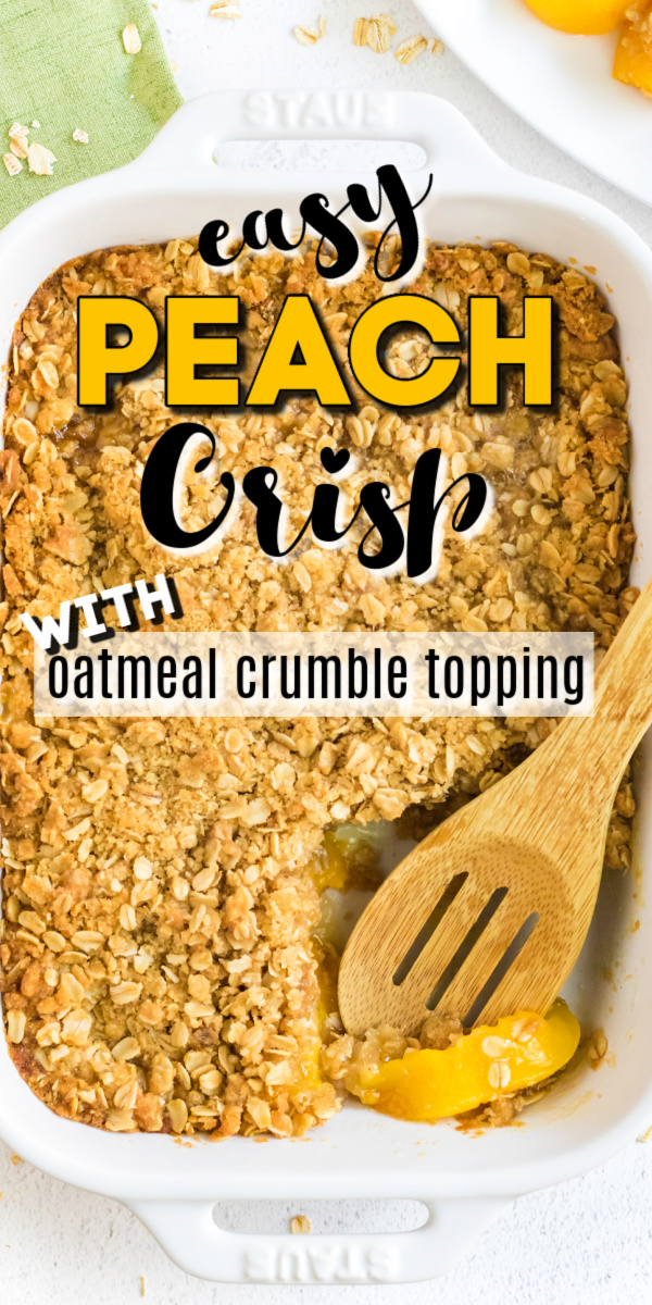 This easy peach crisp is made with delicious oatmeal crumble topping and served best with a vanilla ice cream or homemade whipped topping. You'll love the flavors and this easy dessert recipe.