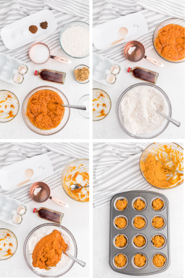 Step by step collage photo on how to make pumpkin muffins.