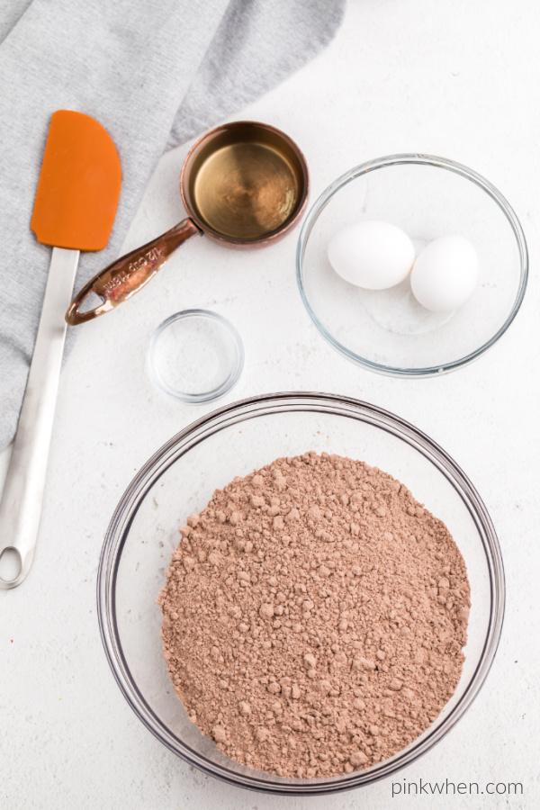 Ingredients needed for brownie cookies.