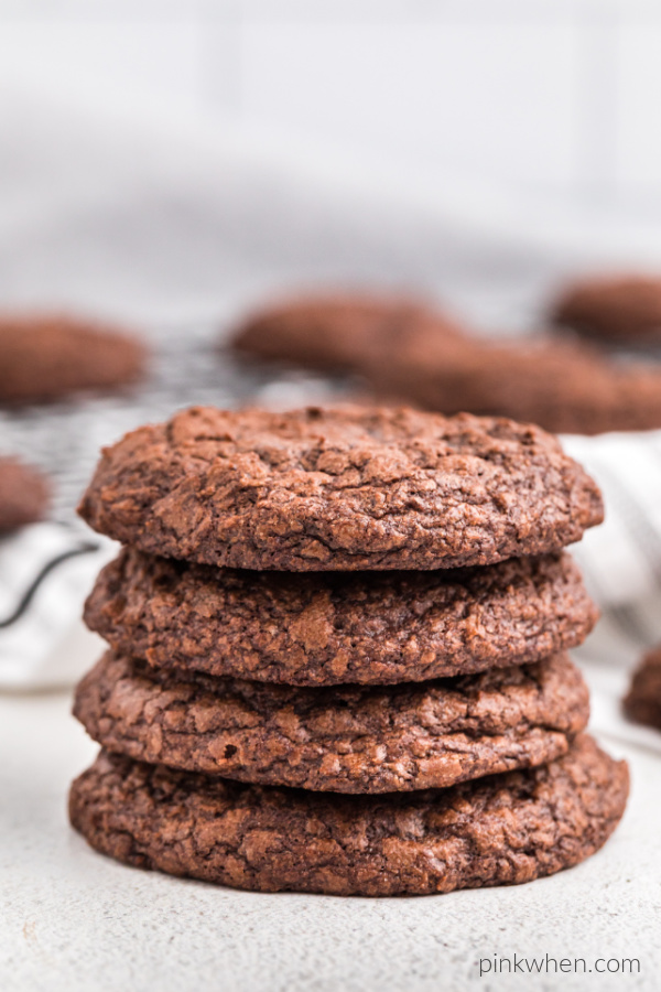 Brownie cookies stacked and ready to eat.