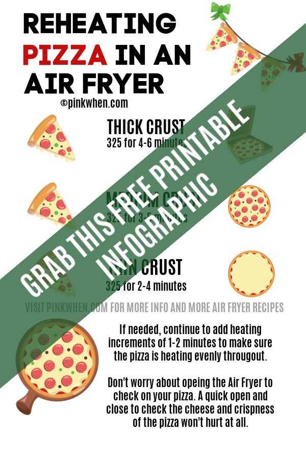 Free downloadable printable infographic for reheating pizza.