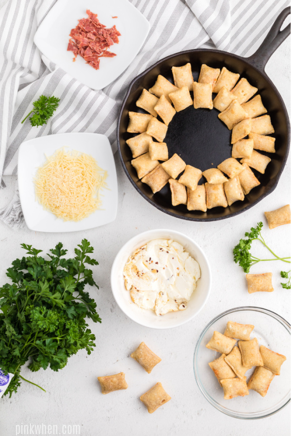 Circles of pizza rolls for pizza dip recipe.